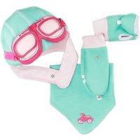 Girls Aqua Pink Motorcycle Hat, Bib And Gloves Set