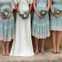 Lace Bridesmaids Dresses In Ivory And Reef Green