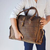 Markham Extra Large Vintage Leather Weekend Bag Wax