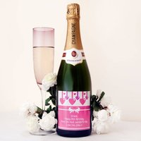 Personalised Champagne Bottle With 'Hanging Hearts'