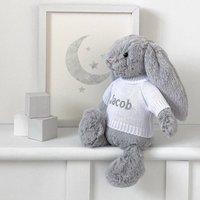 Personalised Grey Bashful Bunny Soft Toy