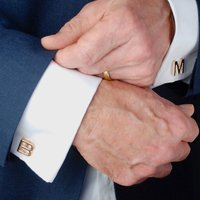 Personalised Rose Gold Initial Letter Cufflinks, Gold