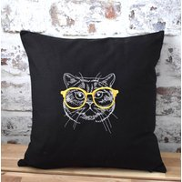 Meow Cute Kitty Cat Embroidered Cushion