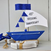 Personalised Sapphire 45th Anniversary Sailboat Card