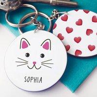 Personalised Cute Cat Face Keyring
