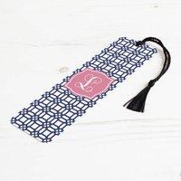 Personalised Weave Metal Bookmark, Black/White/Blush