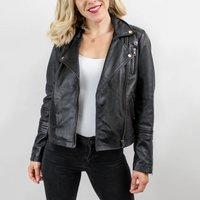 Ladies Black Leather Biker Jacket