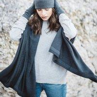 Luxurious Premium Grade Silk Cashmere Blend Wrap, Scarf, Grey