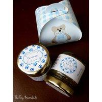 Personalised Christening Mini Jam Favours, Pink/Blue/Yellow