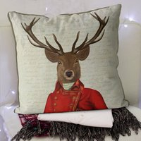 Deer Cushion, Red And Gold Jacket