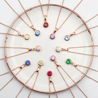 18ct Rose Gold Birthstone Necklace, Gold