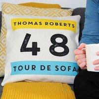 Personalised Tour De Sofa Cycling Cushion Gift
