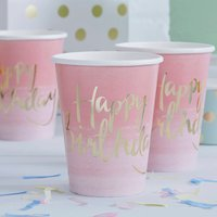 Pink Ombre And Gold Foiled Happy Birthday Paper Cups, Pink