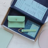 Personalised Leather Coin Purse And Keyring Gift Set