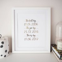 Personalised 'First, Yes, Big Day' Wedding Foil Print