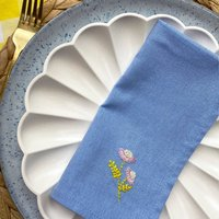 Hand Embroidered Flower Napkins