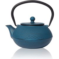 Blue Tenshi Cast Iron Teapot Japanese Style, Blue