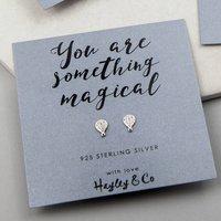 Hot Air Balloon Sterling Silver Earrings, Silver