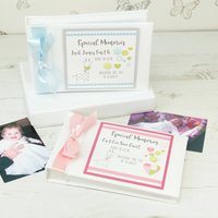 Personalised Buttons Baby Photo Album, Pink/Blue