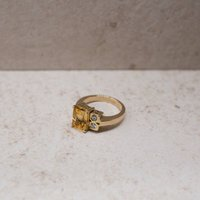 The Lorna Citrine And Diamond 9ct Gold Ring, Gold