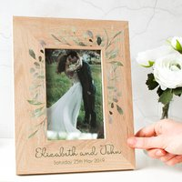 Personalised Wedding Name And Date Oak Photo Frame