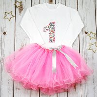 First Birthday Personalised Liberty Tutu Outfit, Aqua/Candy Pink/Pink