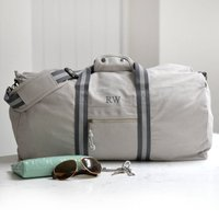 Personalised Vintage Overnight Holdall Grey