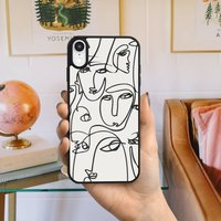 Abstract Art Line Faces iPhone Case Two Designs Options