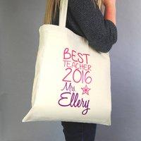 Personalised Best Teacher Tote Bag, Green/Purple/Fuchsia