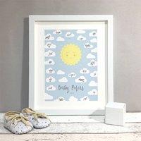 Sunshine Personalised Baby Shower Guest Book Print, Orange/Grey/Purple