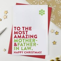 Most Amazing Mother And Father In Law Christmas Card