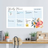 Floral Dry Erase Weekly Wall Planner Decal
