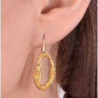 Gold Plated Textured Cluster Of Balls Earrings, Gold