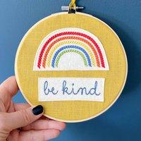 Rainbow Be Kind Wall Hanger Hoop Art