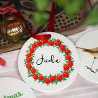 Apple And Ivy Wreath Personalised Christmas Decoration