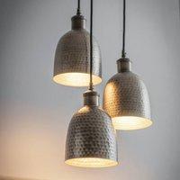 Trio Of Brass Cluster Pendant Lights