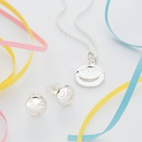 Sterling Silver Emoji Jewellery Set, Silver