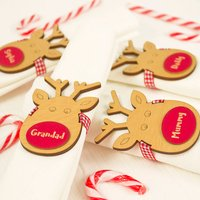 Four Personalised Reindeer Napkin Place Settings