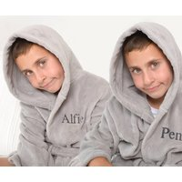 Personalised Twins Soft Child's Dressing Gowns In Grey