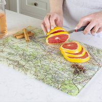 Personalised Vintage Map Glass Chopping Board