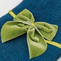 Duo Of Moss Green Velvet Napkin Bows