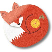 Sleeping Fox Wooden Fridge Magnet