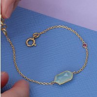 Aqua And Ruby Hexagon Bracelet In 18ct Gold, Gold