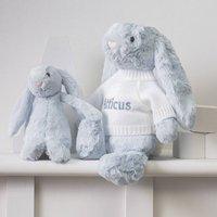 Personalised Pale Blue Bashful Bunny Soft Toy