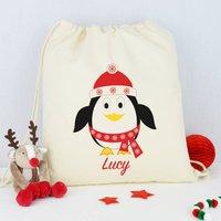Personalised Penguin Christmas Sack