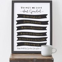 Things We Love About Grandad Print, Black/Gold/Baby Blue