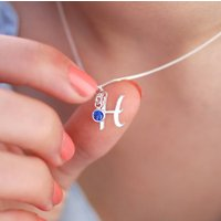 Sterling Silver Script Initial Necklace With Birthstone, Silver