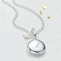 Personalised Petite Silver Diamond Girls Locket, Silver