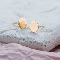 9ct Gold Hammered Disc Earrings, Gold