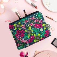 Makeup Bag In Forest Floral Illustrated Pattern